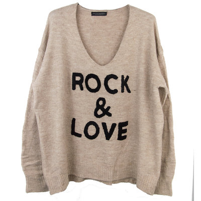 ROCK & LOVE GEBREIDE V-HALS TRUI SAND