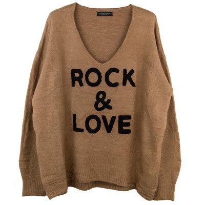 ROCK & LOVE GEBREIDE V-HALS TRUI CARAMEL