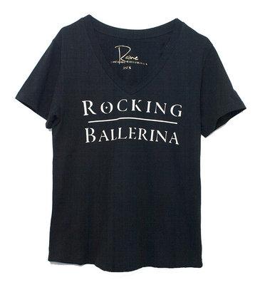 V-NECK TEE : ROCKING BALLERINA ZWART