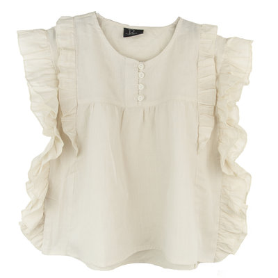GIRLS TUNIEK BLOUSE RUFFLE CREAM