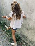GIRLS TUNIEK BLOUSE RUFFLE CREAM_