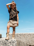 GIRLS LEOPARD RUFFLE SKIRT SAND_