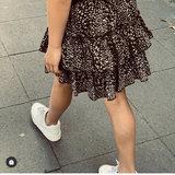 GIRLS LEOPARD RUFFLE SKIRT BLACK_