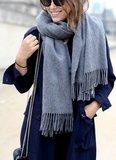 CASHMERE SHAWL ; 100% SCHEERWOL CAMEL _