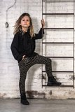 GIRLS DROPPED CROTCH JOGGER ARMYGREEN LEOPARD  _