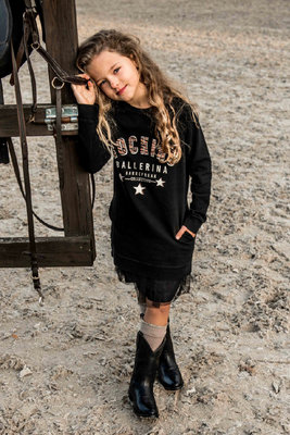 GIRLS SWEATDRESS STARS BLACK