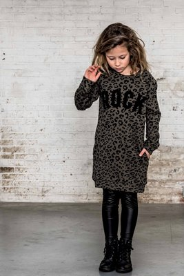 SWEATDRESS ARMYGREEN LEOPARD ; ROCK ( GIRLS)