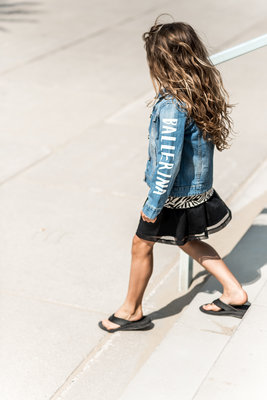 GIRLS DENIM JACKET ROCKING BALLERINA MOUWEN !