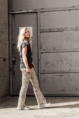 CHEETAH FLARE PANTS SAND