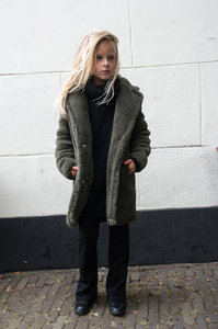 GIRLS TEDDY COAT KHAKI-GREEN