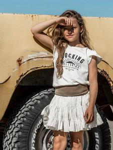 GIRLS RUFFLE TEE : ROCKING BALLERINA SUN COCONUT