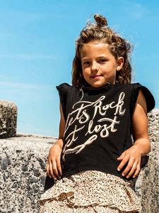 GIRLS RUFFLE TEE : LETS ROCK! BLACK