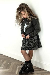 GIRLS :  LEOPARD ROKJE MET ZWARTE FLUWELEN BIES ( nag niet meer retour)
