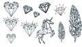 GEOMETRIC HEARTS, FEATHERS, DIAMONDS & UNICORN TATTOOS