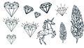 GEOMETRIC HEARTS, FEATHERS, DIAMONDS & UNICORN TATTOOS